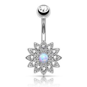 Gorgeous opal lotus flower belly ring